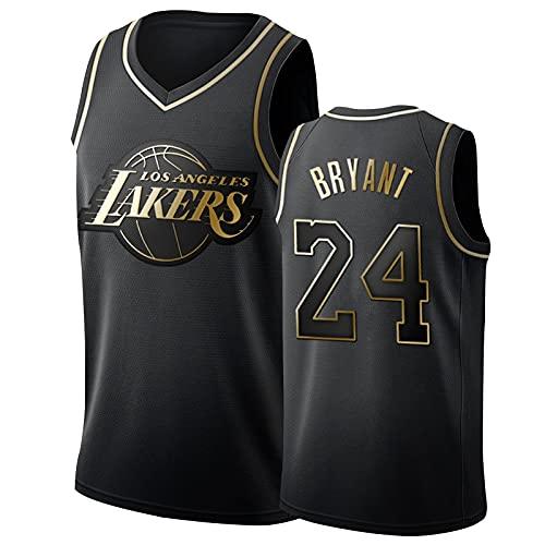 Los Angeles Lakers Kobe Bryant Basketball Trikots 24# Herren, Mamba Mesh Atmungsaktiv Gesticktes Fan Memorial Black Gold Edition Basketball Jersey Black Gold-M