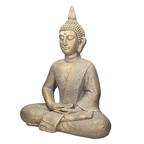ECD Germany Buddha Figur sitzend, 63cm hoch, aus wetterfestem Polyresin, Bronze, Feng Shui, Buddha Statue als Dekoration für Haus, Wohnung & Garten Gartenfigur Dekofigur, Skulptur für Innen und Außen