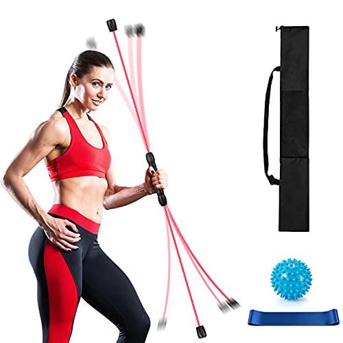 Schwingstab Fitness für Ganzkörpertraining Schwingstick 160cm mit Therabänder und Massageball zum Trainieren