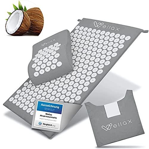 Wellax Akupressurmatte mit Kissen - Gefüllt mit Kokosfasern - Löst Verspannungen & fördert Durchblutung - Massage Matte mit Akupressurkissen & Tragetasche