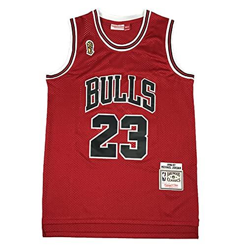 KKSY Herren Trikots Chicago Bulls #23 1996-1997 Basketball Trikots Retro Atmungsaktive Weste,Red,M