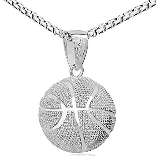 Yifnny Basketball Halskette, Herren Vergoldet 3D Basketball Anhänger Edelstahl Kette Halskette Sport Halskette Hip Hop Schmuck Basketball Fan Spieler Geschenk für Männer Jungen Frauen (Silber)