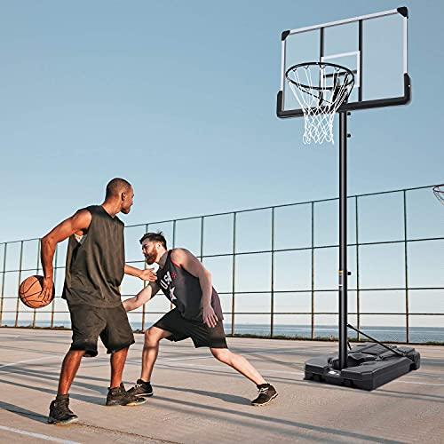Tragbarer Basketballkorb & Tor 48 Zoll Rückbrett Höhe Verstellbar von 7ft5in-10ft Spielplatz Ausrüstung mit Rädern für Erwachsene Kinder Außen- und Innengebrauch