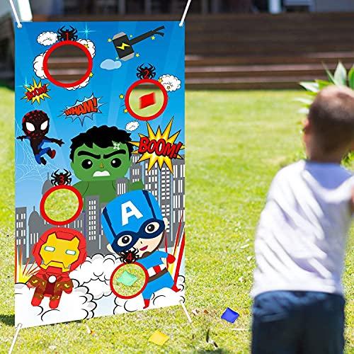 LATERN Superhelden-Wurf-Spiel mit 4 Stück Sitzsäcken, Karneval-Wurfspiel-Banner Superheld Indoor Outdoor Wurfspiel Partyzubehör für Kinder