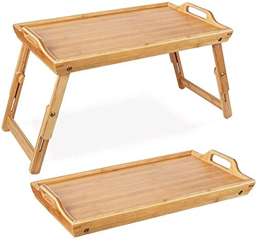 Betttablett Bambus Betttisch klappbar Serviertablett Frühstückstablett mit Griffen als Beistelltisch und Knietisch 31.3x50-63x20.5-30cm(BxTxH)