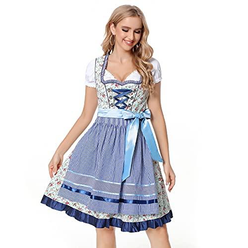 Jodimitty Damen Dirndl Kleid,3 TLG Adelstrachten Dirndl Damen Midi Set, mit Bluse und Schürze, Bayerisches Damen-Trachtenkleid Trachten Kleider Biermädchen Karnevalskostüme(Blau,2XL)