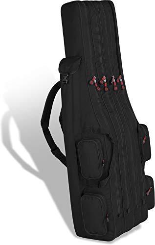 Rutentasche Rod Case Angelkoffer Futteral mit 3 Ruten-Fächern, Verschiedene Längen wählbar - stark wasserabweisender Fishing Rucksack Farbe Dunkelschwarz 4 Innenfächer Größe 160 cm