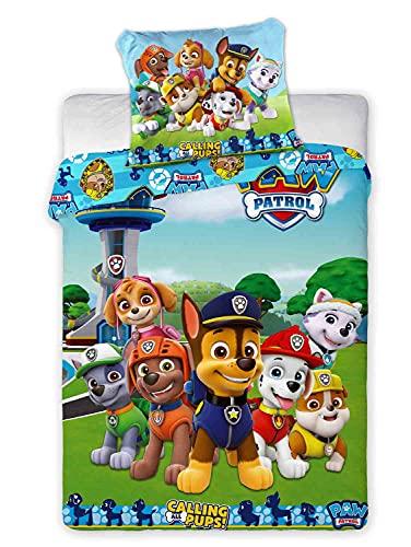 CLEAVEN Paw Patrol Bettwäsche Set aus 100% Baumwolle   Kinderbettwäsche 100x135 cm 2 teilig für Kinderzimmer, Mädchen und Jungen   Kinder Bettbezug inkl. Kissenbezug 40x60 cm (Paw Patrol 288)