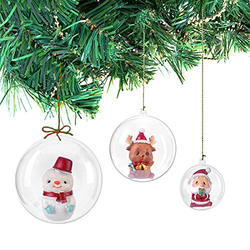 Kunststoff Christbaumkugeln durchsichtig befüllbar, DIY durchsichtige Kunststoff Weihnachtskugeln Baum Ornamente Dekor Pack 20(10CM)