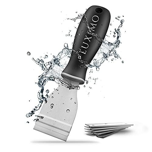 LUXIMO® Premium Ceranfeldschaber mit ergonomischen Griff - Stabiler Glasschaber für die Küche - Ceranfeldreiniger Kochfeld - Universal Schaber - Zeranfeldkratzer mit Ersatzklingen