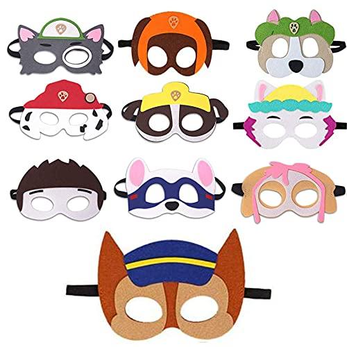 REDO 10 Stück Paw Dog Patrol Masken, Geburtstag Augenmaske,Cosplay Party Masken,Charakter Masken Passen für Kinder Maskerade Halloween Dress Up Party Supplies