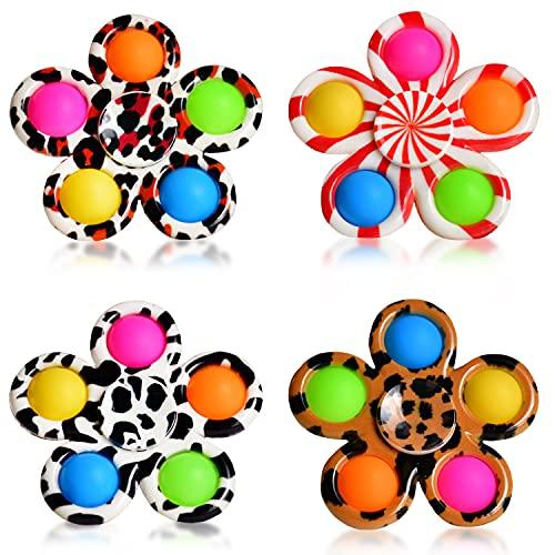 4x Push Pop Fidget Spinner | DIE NEUHEIT | Sensory Spinner Fidget POP IT Set - 5 Bubbles | Magic Push Pop Fidget Rainbow Toy | Hand-Spinner ideal als Antistress Spiel für Kinder - Jungs & Mädchen