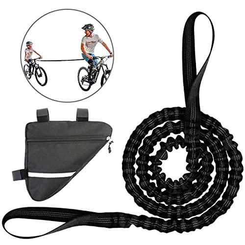 Abschleppseil Fahrrad Kinder Tow Rope mit Fahrrad Rahmentasche Elastisch Fahrrad Abschleppgurt Fahrrad Bungee Abschleppseil, Eltern Kind Zugseil Abschleppseil Schwarz Bike Traktionsseil