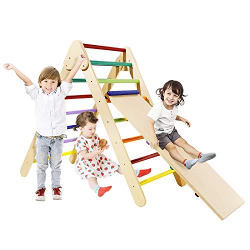 Klettergerüst Kinder Indoor Faltbare Kletterdreieck mit Rutsche Kletterdreieck Pikler Farbe auf Wasserbasis Außenschicht Sprossendreieck mit Rutschbrett Übung Babys Gleichgewichtssinn