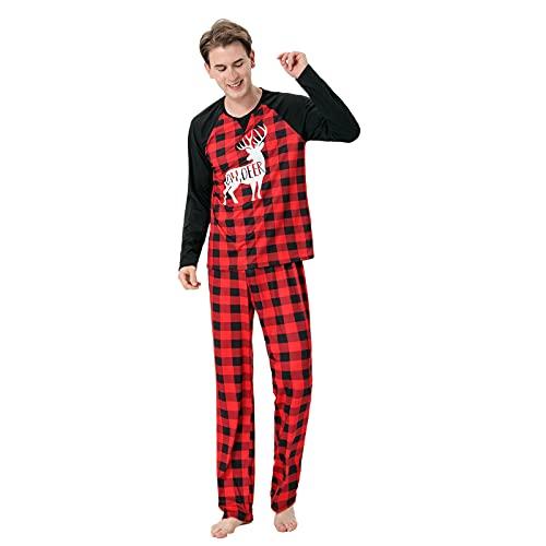 Hengyouhui Weihnachts Schlafanzüge Familie Pyjamas Outfit Mutter Vater Kind Kostüm Set Nachtwäsche Rundhals Langarm Homewear Christmas Matching Winter Pyjamas Set